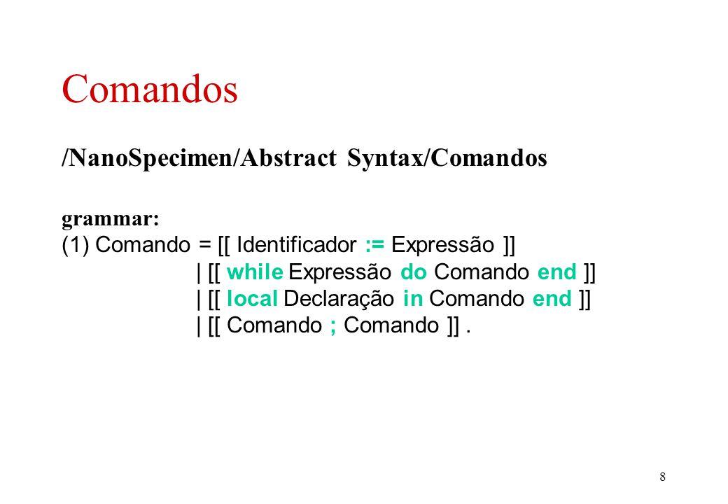 8 Comandos /NanoSpecimen/Abstract Syntax/Comandos grammar: (1) Comando = [[ Identificador := Expressão ]] | [[ while Expressão do Comando end ]] | [[ local Declaração in Comando end ]] | [[ Comando ; Comando ]].