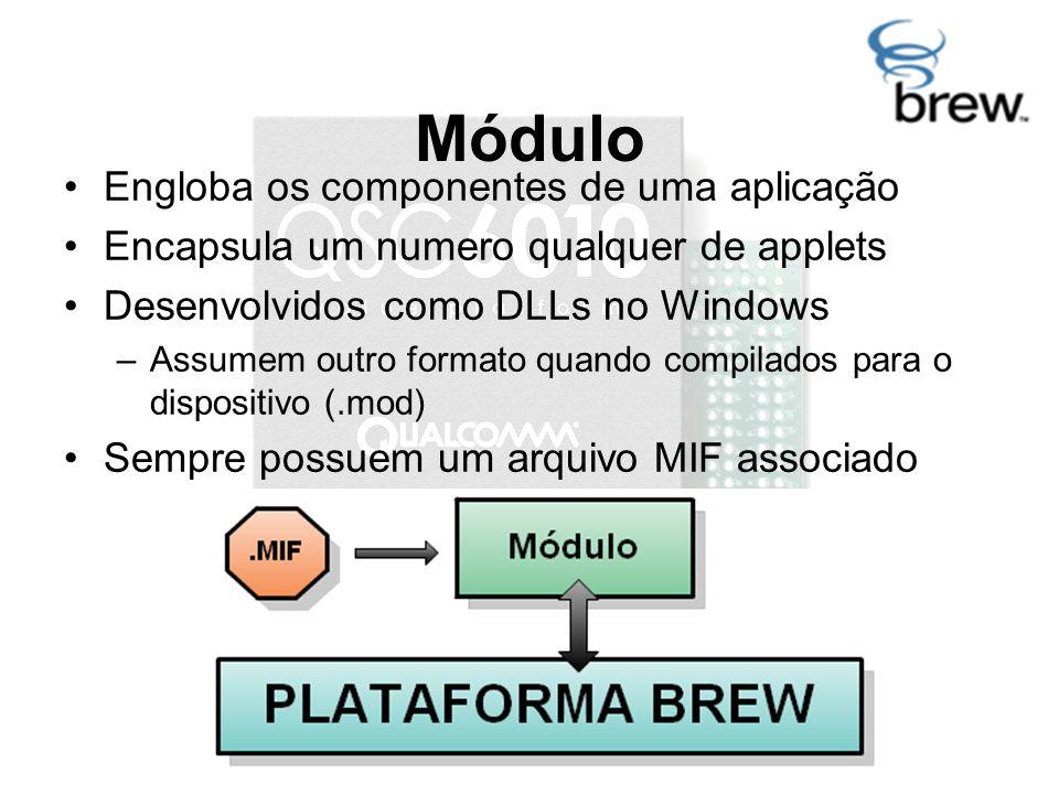 Módulo Engloba os componentes de uma aplicação Encapsula um numero qualquer de applets Desenvolvidos como DLLs no Windows –Assumem outro formato quando compilados para o dispositivo (.mod) Sempre possuem um arquivo MIF associado