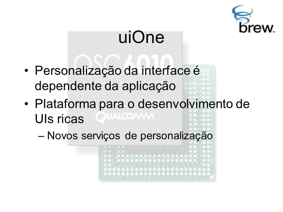 uiOne Personalização da interface é dependente da aplicação Plataforma para o desenvolvimento de UIs ricas –Novos serviços de personalização