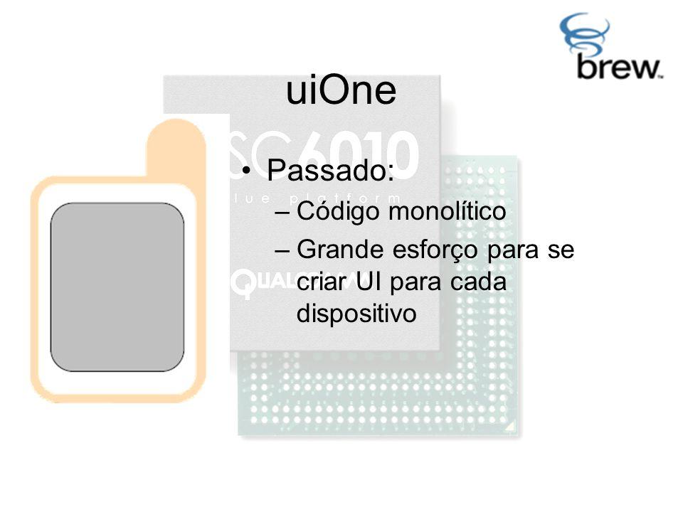 uiOne Passado: –Código monolítico –Grande esforço para se criar UI para cada dispositivo