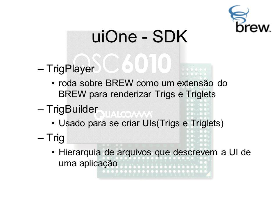 uiOne - SDK –TrigPlayer roda sobre BREW como um extensão do BREW para renderizar Trigs e Triglets –TrigBuilder Usado para se criar UIs(Trigs e Triglets) –Trig Hierarquia de arquivos que descrevem a UI de uma aplicação