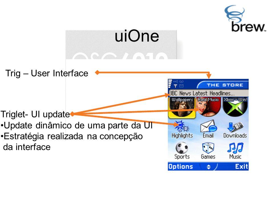 uiOne Trig – User Interface Triglet- UI update Update dinâmico de uma parte da UI Estratégia realizada na concepção da interface