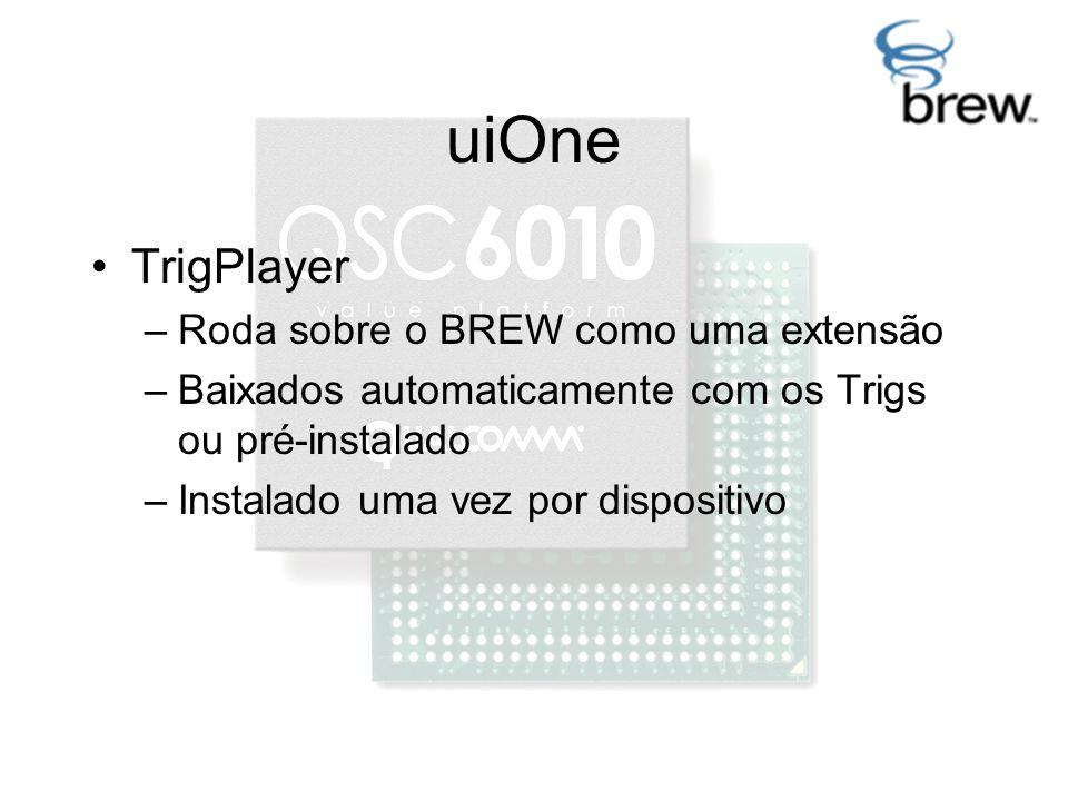 uiOne TrigPlayer –Roda sobre o BREW como uma extensão –Baixados automaticamente com os Trigs ou pré-instalado –Instalado uma vez por dispositivo