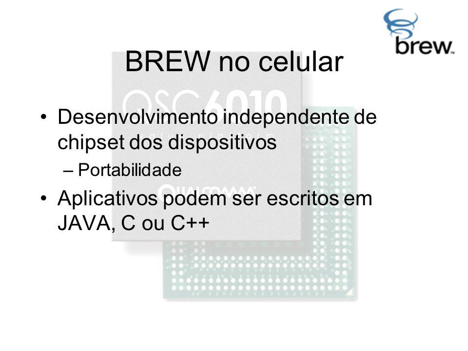 BREW no celular Desenvolvimento independente de chipset dos dispositivos –Portabilidade Aplicativos podem ser escritos em JAVA, C ou C++
