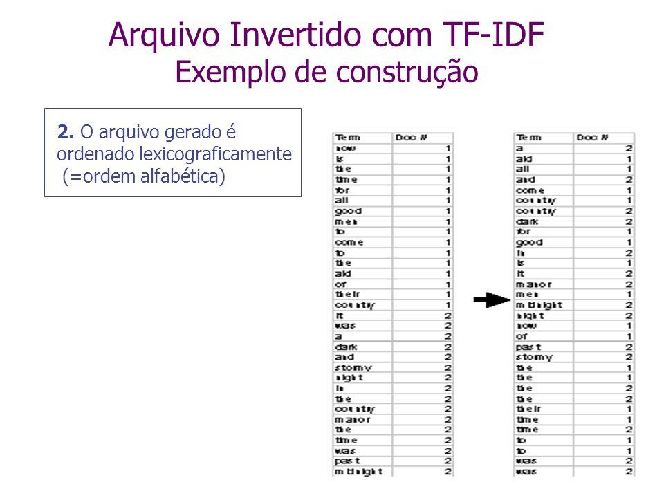Arquivo Invertido com TF-IDF Exemplo de construção 1. Texto dos documentos é pré-processado para extrair os termos relevantes, que são armazenados de