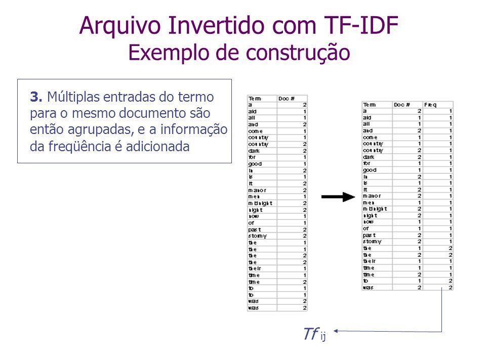 Arquivo Invertido com TF-IDF Exemplo de construção 2. O arquivo gerado é ordenado lexicograficamente (=ordem alfabética)