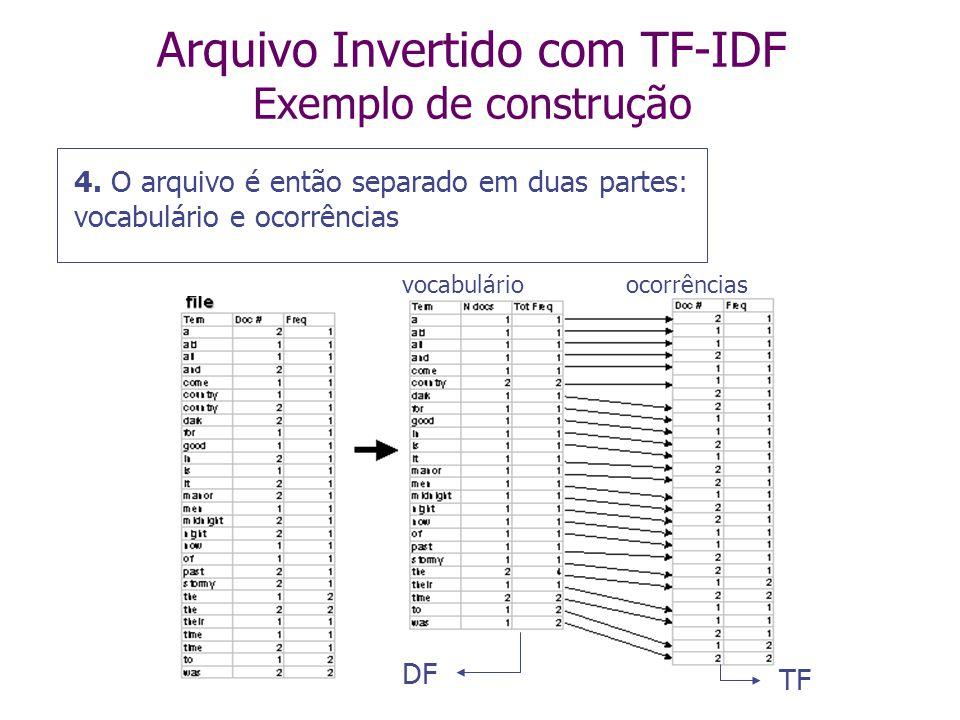 Arquivo Invertido com TF-IDF Exemplo de construção 3. Múltiplas entradas do termo para o mesmo documento são então agrupadas, e a informação da freqüê