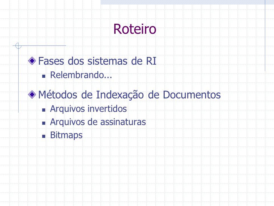 Recuperação de Informação Clássica Indexação dos Documentos Criação da Bases de Índices Cap. 8 do livro [Baeza-Yates & Ribeiro-Neto 1999] Flávia Barro