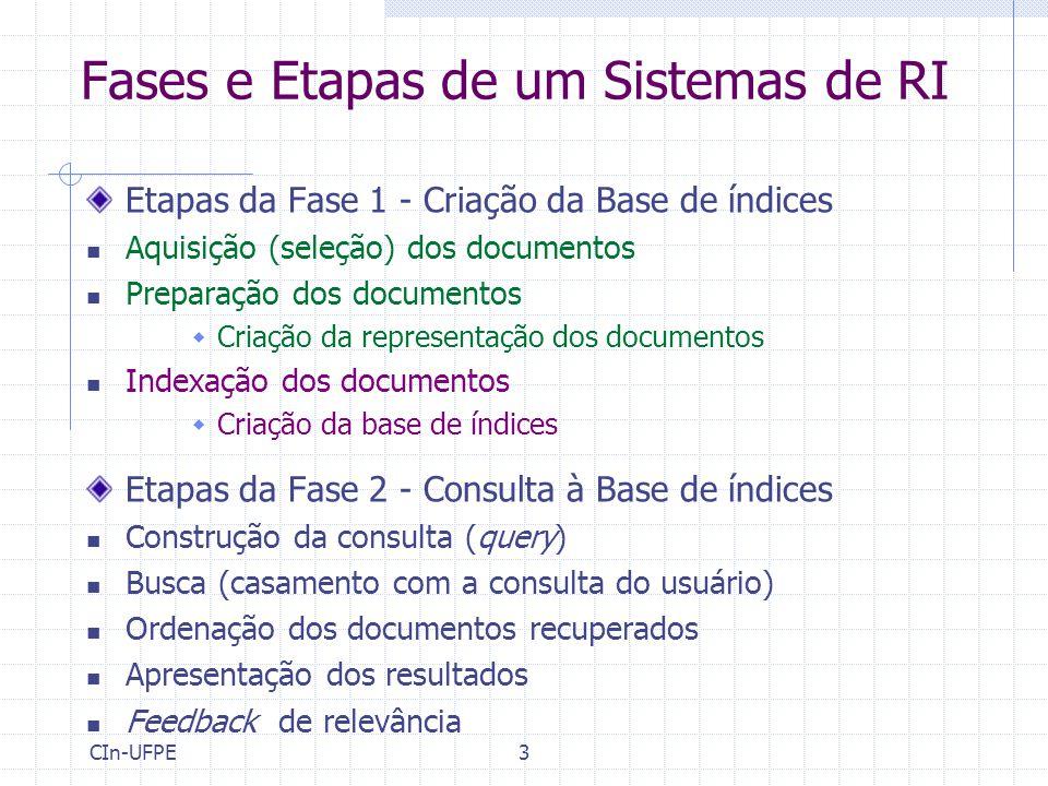 CIn-UFPE3 Fases e Etapas de um Sistemas de RI Etapas da Fase 1 - Criação da Base de índices Aquisição (seleção) dos documentos Preparação dos documentos  Criação da representação dos documentos Indexação dos documentos  Criação da base de índices Etapas da Fase 2 - Consulta à Base de índices Construção da consulta (query) Busca (casamento com a consulta do usuário) Ordenação dos documentos recuperados Apresentação dos resultados Feedback de relevância
