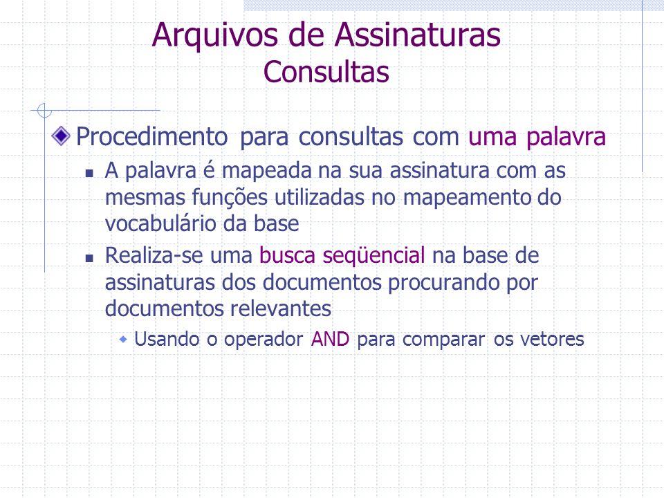 Arquivos de Assinaturas Assinatura dos Documentos A assinatura de cada documento pode ser obtida com base nas assinaturas das suas palavras Aplicando