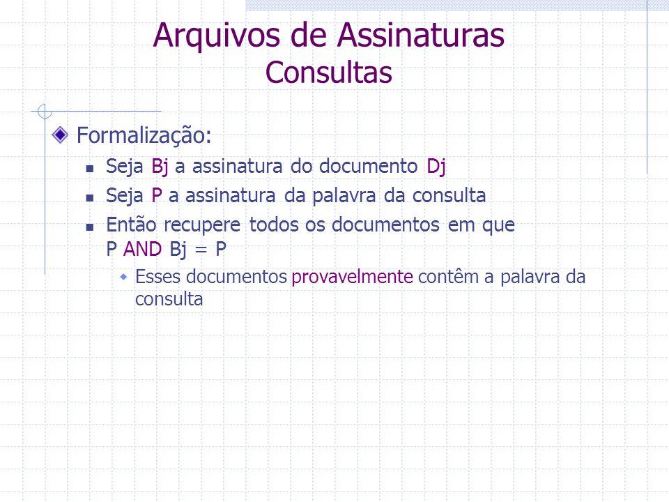 Arquivos de Assinaturas Consultas Procedimento para consultas com uma palavra A palavra é mapeada na sua assinatura com as mesmas funções utilizadas n