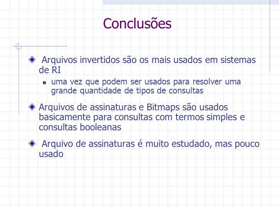 Bitmaps Método ocupa muito espaço desnecessário para termos pouco comuns Maioria dos bits iguais a 0 É ineficiente para adicionar e deletar documentos