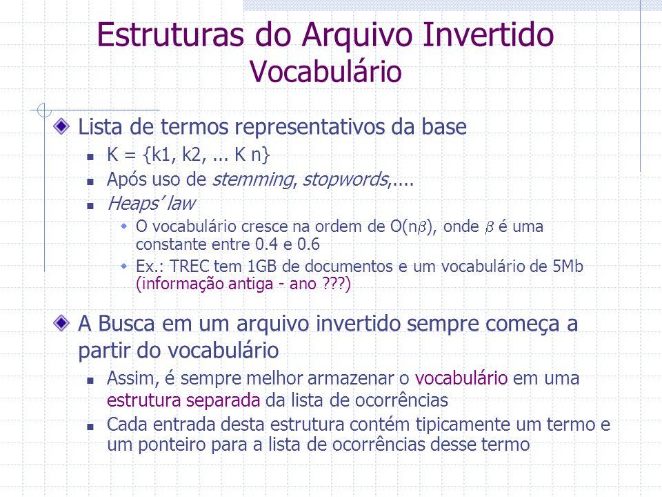 Estruturas do Arquivo Invertido Vocabulário Lista de termos representativos da base K = {k1, k2,...
