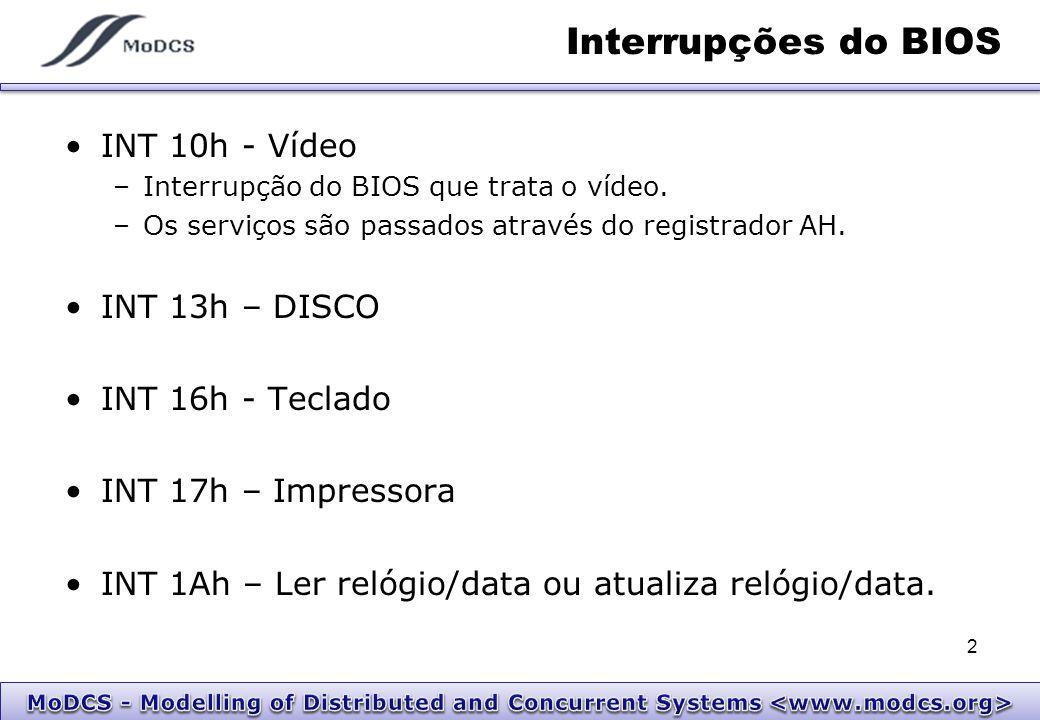 INT 10h - Vídeo Escreve um ponto (pixel) –Chama-se com: AH = 12 AL = cor do pixel.