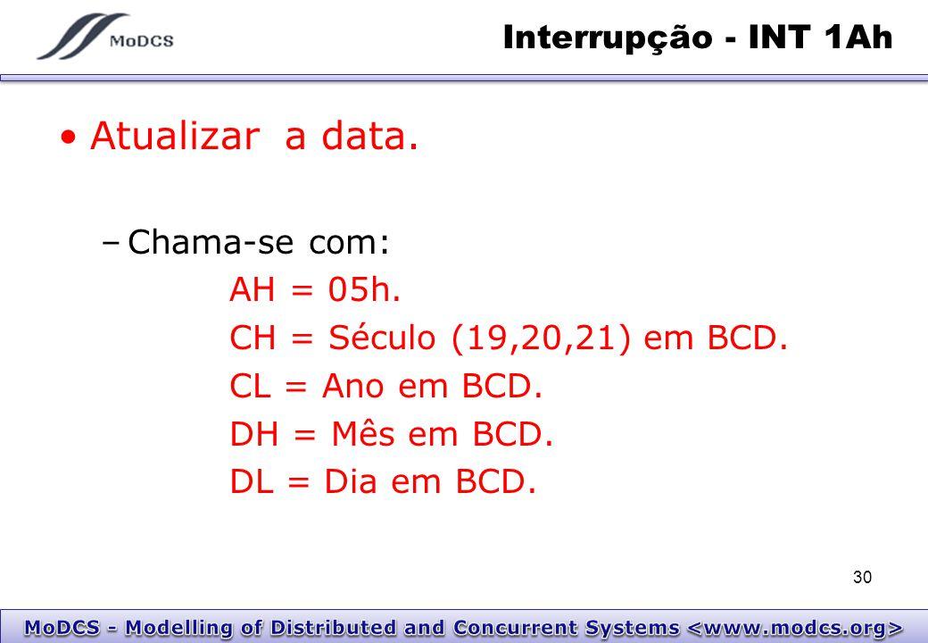 Interrupção - INT 1Ah Atualizar a data. –Chama-se com: AH = 05h. CH = Século (19,20,21) em BCD. CL = Ano em BCD. DH = Mês em BCD. DL = Dia em BCD. 30