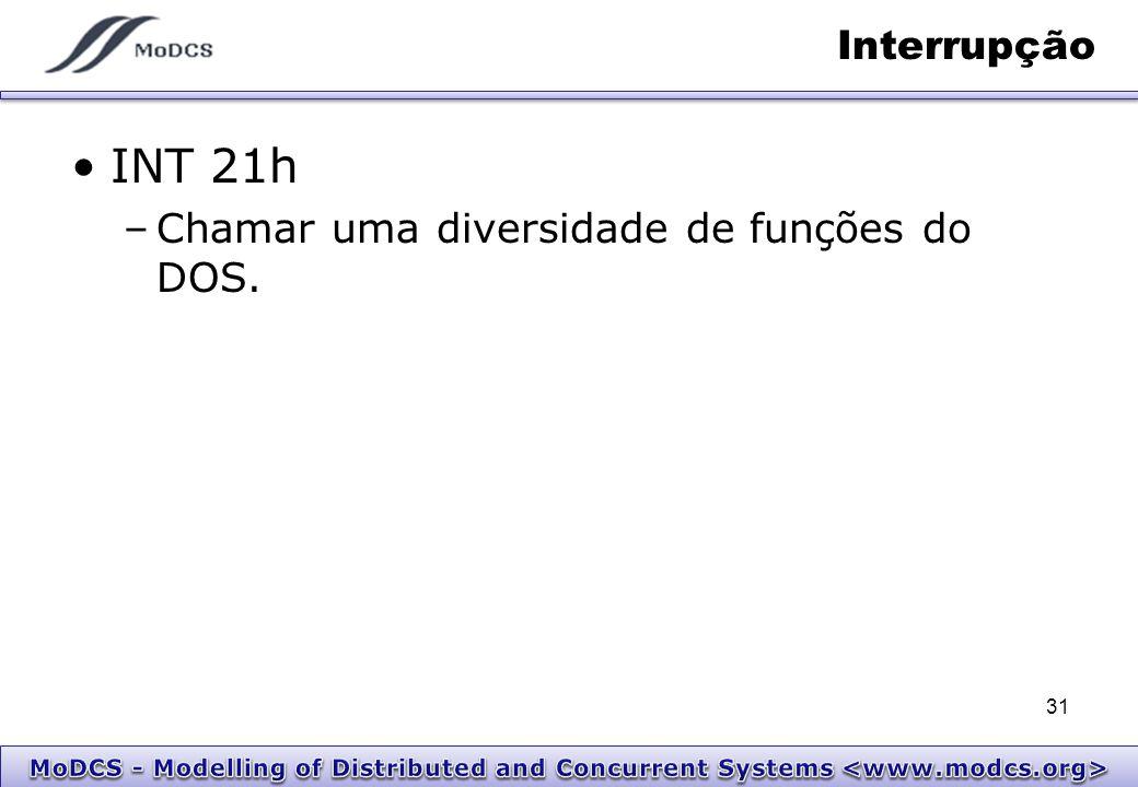 Interrupção INT 21h –Chamar uma diversidade de funções do DOS. 31