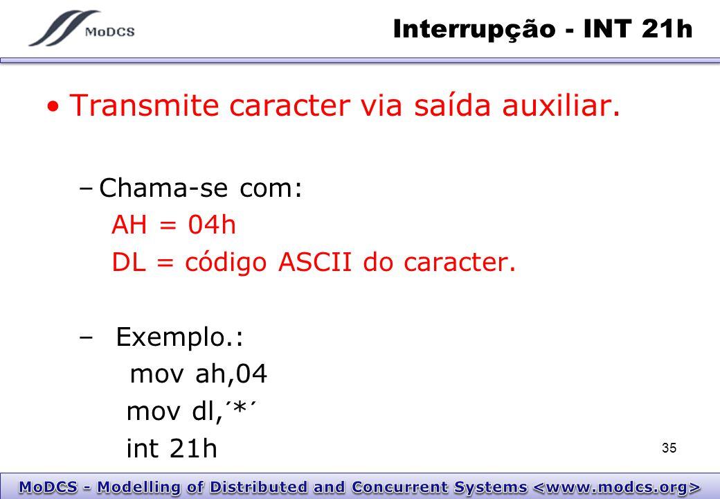 Interrupção - INT 21h Transmite caracter via saída auxiliar. –Chama-se com: AH = 04h DL = código ASCII do caracter. –Exemplo.: mov ah,04 mov dl,´*´ in