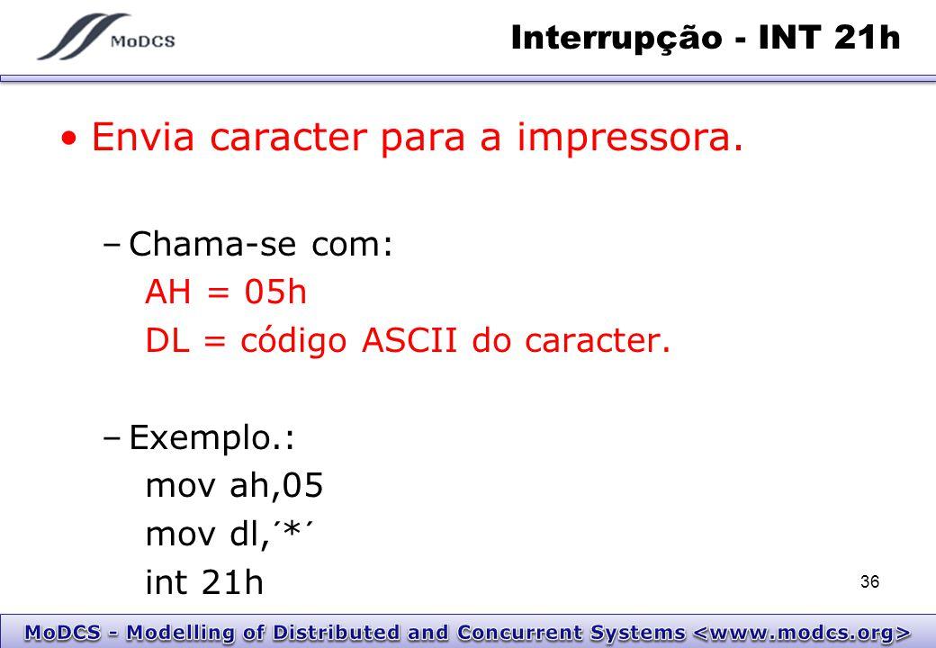 Interrupção - INT 21h Envia caracter para a impressora. –Chama-se com: AH = 05h DL = código ASCII do caracter. –Exemplo.: mov ah,05 mov dl,´*´ int 21h