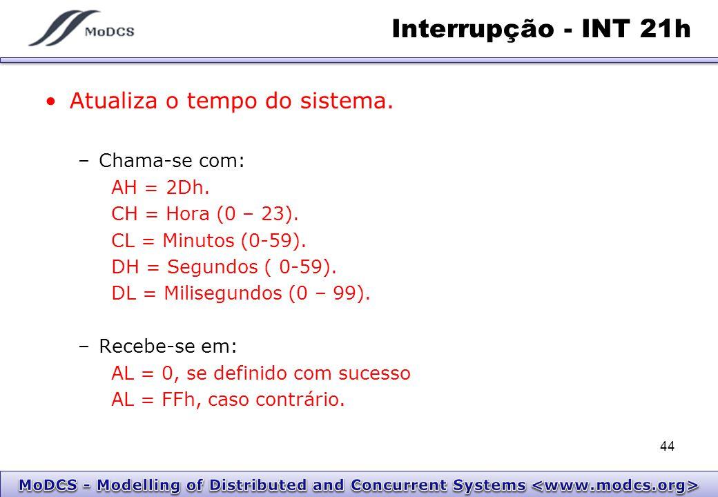 Interrupção - INT 21h Atualiza o tempo do sistema. –Chama-se com: AH = 2Dh. CH = Hora (0 – 23). CL = Minutos (0-59). DH = Segundos ( 0-59). DL = Milis