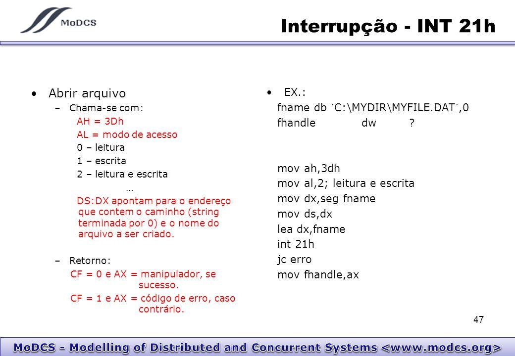 Interrupção - INT 21h Abrir arquivo –Chama-se com: AH = 3Dh AL = modo de acesso 0 – leitura 1 – escrita 2 – leitura e escrita … DS:DX apontam para o e