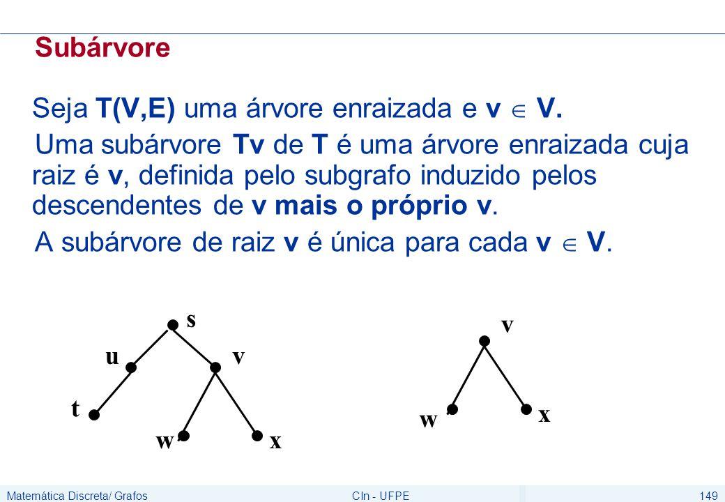 Matemática Discreta/ GrafosCIn - UFPE149 Subárvore Seja T(V,E) uma árvore enraizada e v  V. Uma subárvore Tv de T é uma árvore enraizada cuja raiz é