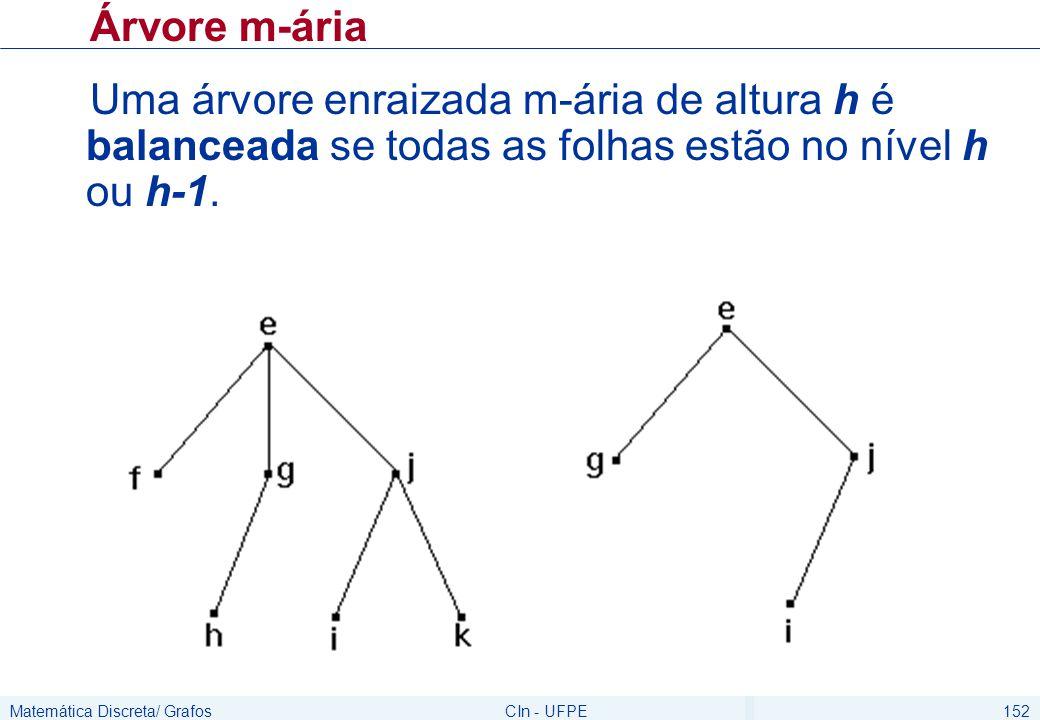 Matemática Discreta/ GrafosCIn - UFPE152 Árvore m-ária Uma árvore enraizada m-ária de altura h é balanceada se todas as folhas estão no nível h ou h-1.