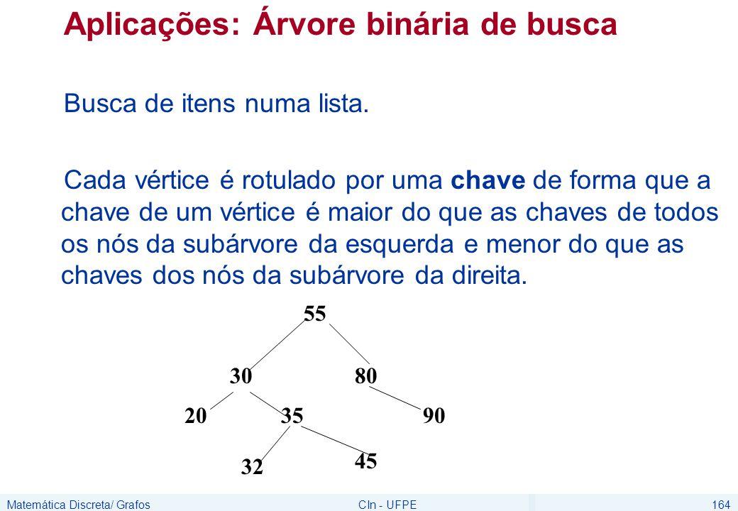 Matemática Discreta/ GrafosCIn - UFPE164 Aplicações: Árvore binária de busca Busca de itens numa lista. Cada vértice é rotulado por uma chave de forma