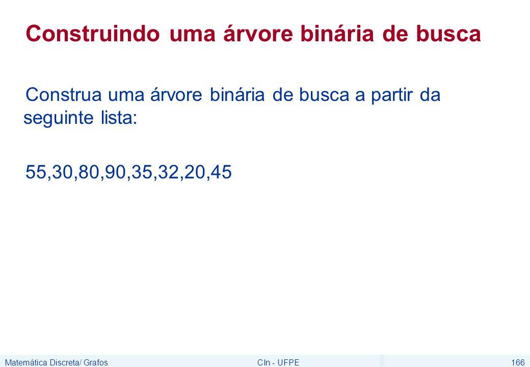 Matemática Discreta/ GrafosCIn - UFPE166 Construindo uma árvore binária de busca Construa uma árvore binária de busca a partir da seguinte lista: 55,3
