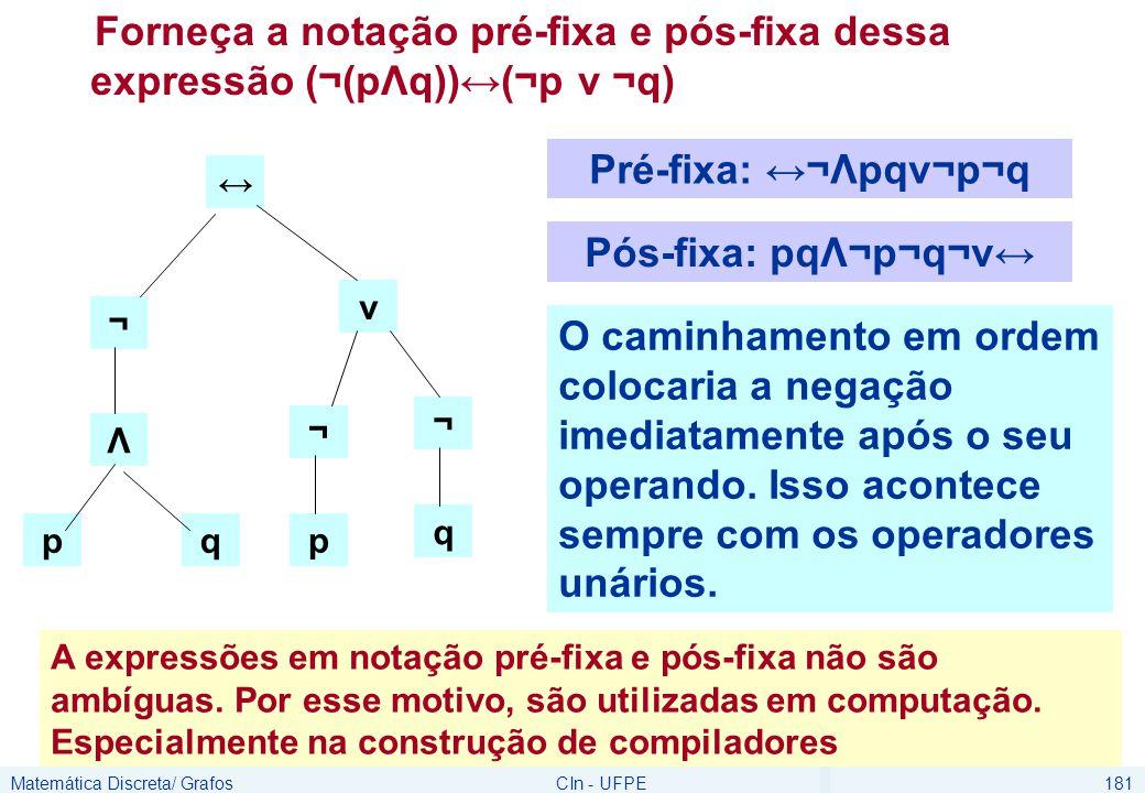 Matemática Discreta/ GrafosCIn - UFPE181 Forneça a notação pré-fixa e pós-fixa dessa expressão (¬(pΛq))↔(¬p v ¬q) ↔ p v ¬ q ¬ Λ pq ¬ Pré-fixa: ↔¬Λpqv¬p¬q Pós-fixa: pqΛ¬p¬q¬v↔ O caminhamento em ordem colocaria a negação imediatamente após o seu operando.