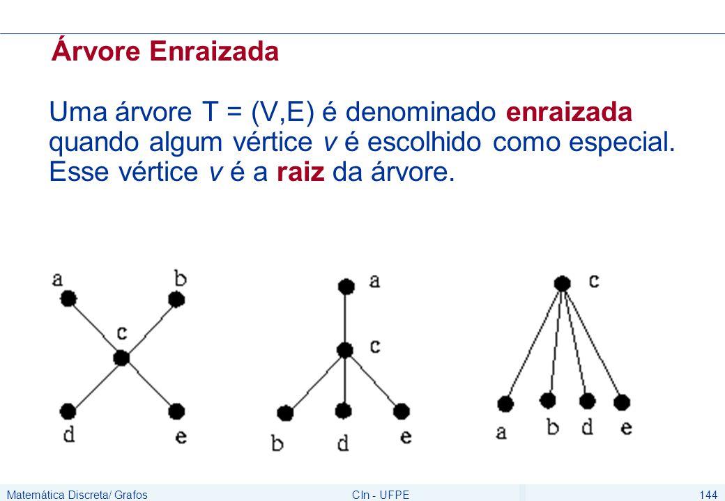 Matemática Discreta/ GrafosCIn - UFPE144 Árvore Enraizada Uma árvore T = (V,E) é denominado enraizada quando algum vértice v é escolhido como especial.