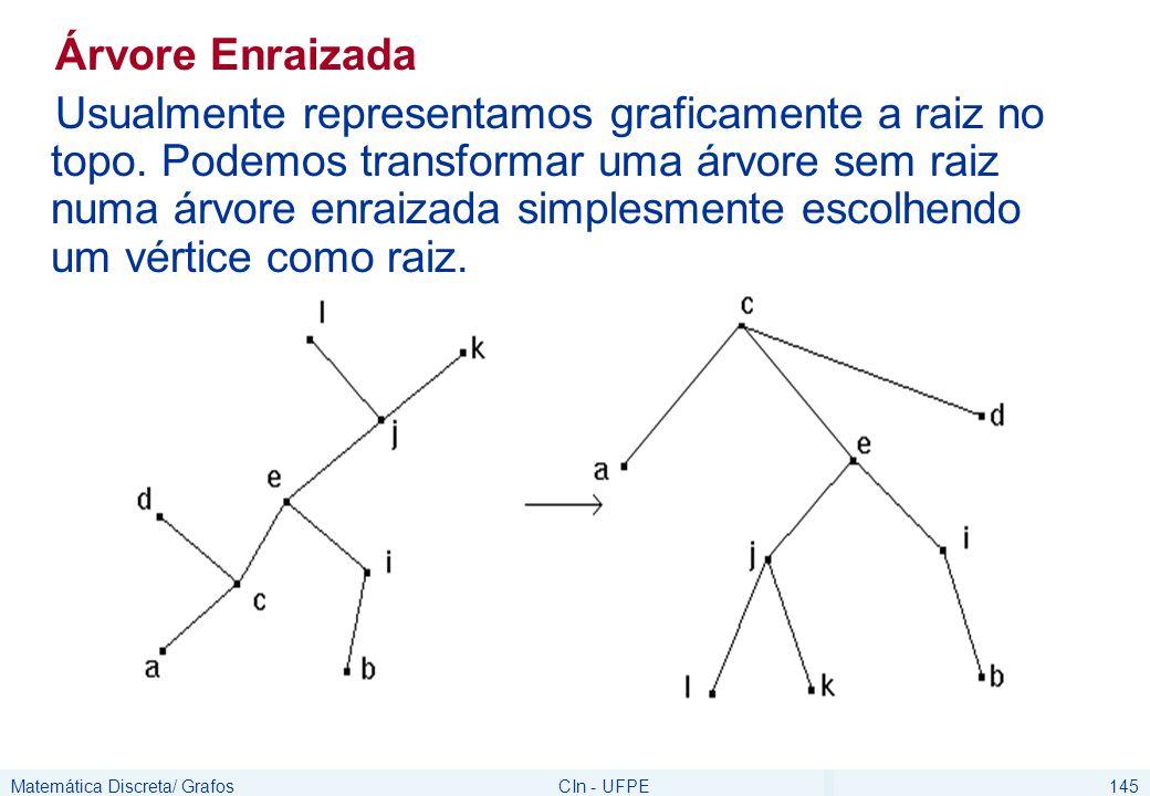 Matemática Discreta/ GrafosCIn - UFPE146 Árvore Enraizada ancestrais de j={e,c} descendentes de j={i,k} pai de j=e filhos de j={i,k} nível de j=2 altura da árvore =3 folhas={b,a,i,k,f,h,d} Raiz = c
