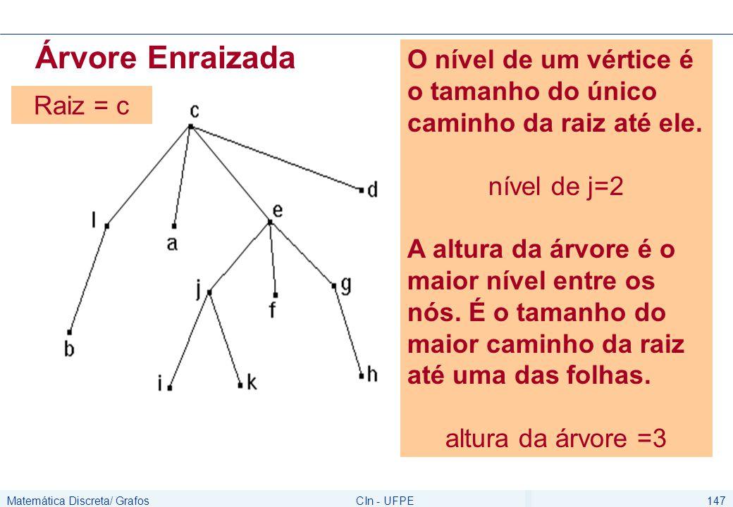 Matemática Discreta/ GrafosCIn - UFPE148 Árvore Enraizada A raiz de uma árvore não possui pai, e todo vértice v diferente de r, possui um único pai.
