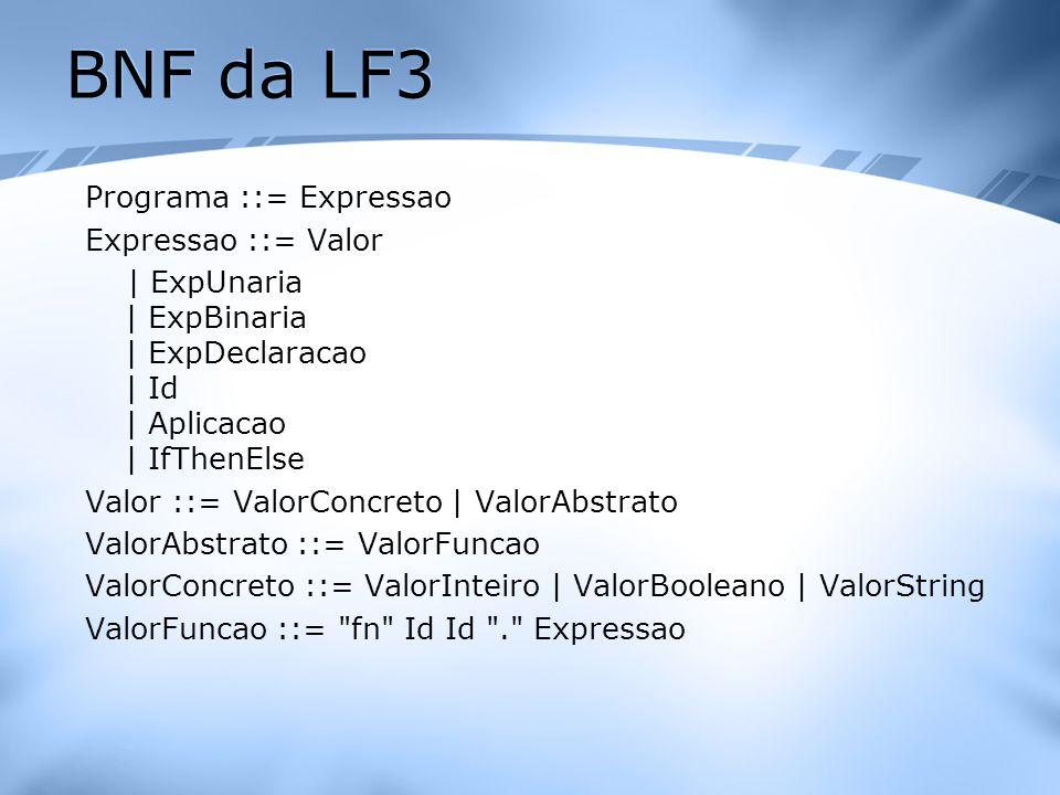 BNF da LF3 Programa ::= Expressao Expressao ::= Valor | ExpUnaria | ExpBinaria | ExpDeclaracao | Id | Aplicacao | IfThenElse Valor ::= ValorConcreto |