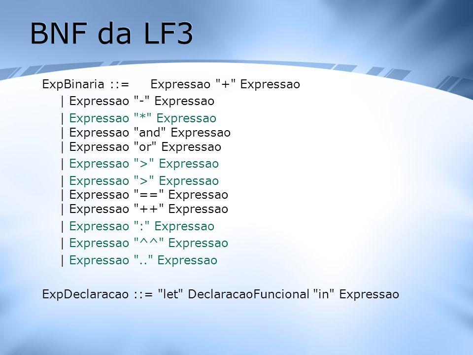 BNF da LF3 ExpBinaria ::= Expressao