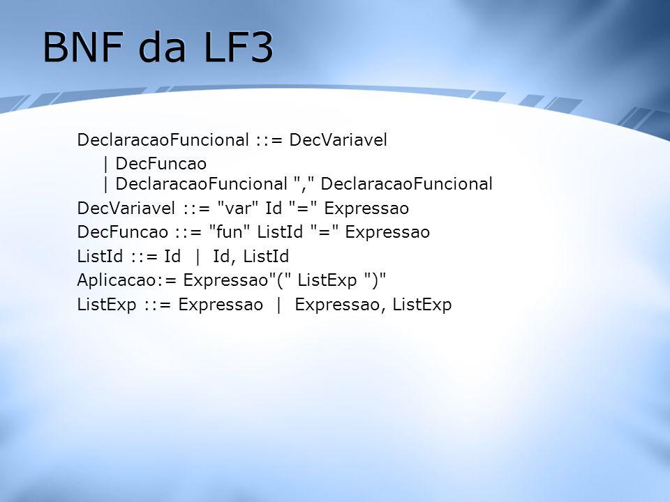 BNF da LF3 DeclaracaoFuncional ::= DecVariavel | DecFuncao | DeclaracaoFuncional