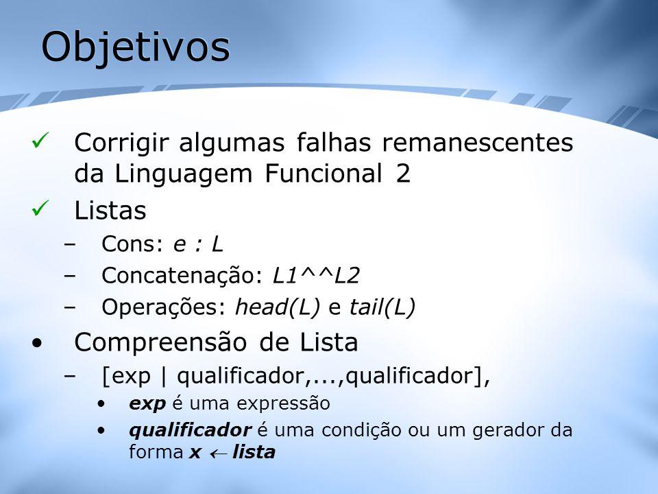 Objetivos Corrigir algumas falhas remanescentes da Linguagem Funcional 2 Listas –Cons: e : L –Concatenação: L1^^L2 –Operações: head(L) e tail(L) Compr