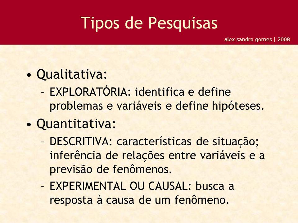 Tipos de Pesquisas Qualitativa: –EXPLORATÓRIA: identifica e define problemas e variáveis e define hipóteses.