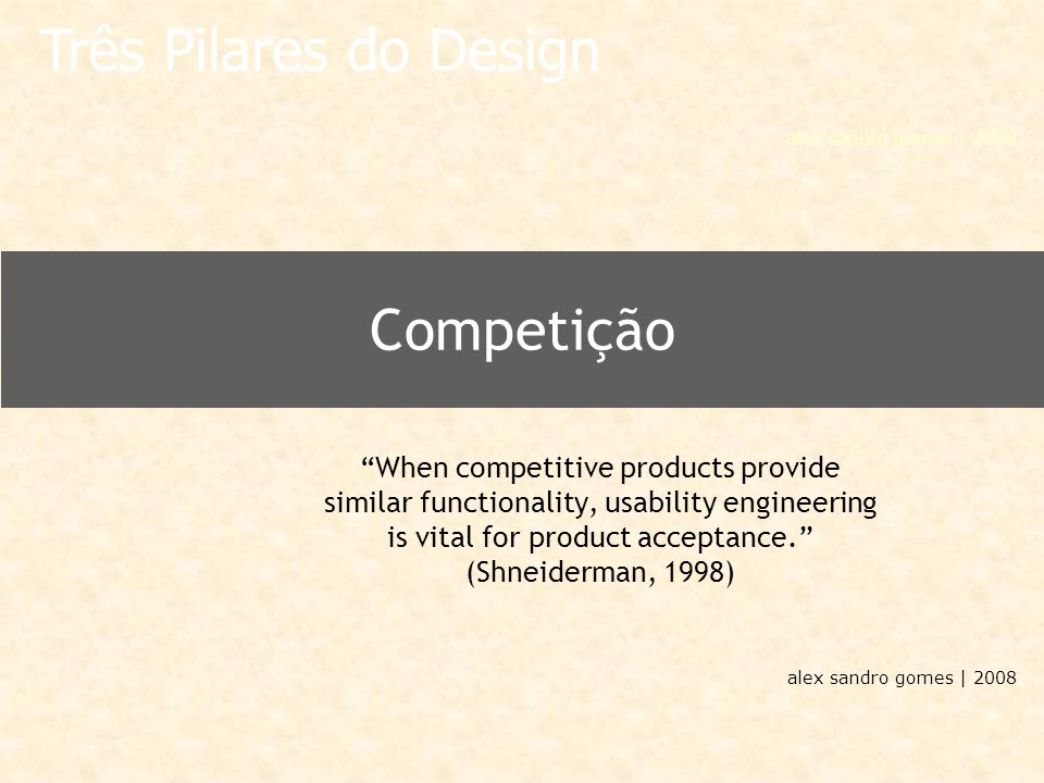 "alex sandro gomes | 2008 Competição ""When competitive products provide similar functionality, usability engineering is vital for product acceptance."""