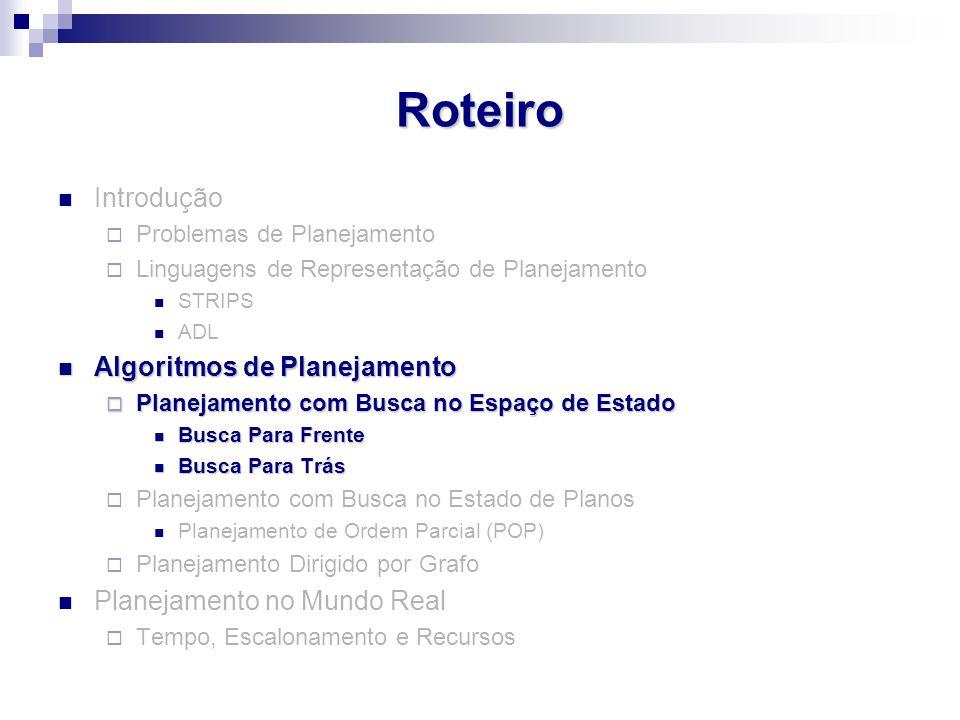 Roteiro Introdução  Problemas de Planejamento  Linguagens de Representação de Planejamento STRIPS ADL Algoritmos de Planejamento Algoritmos de Plane