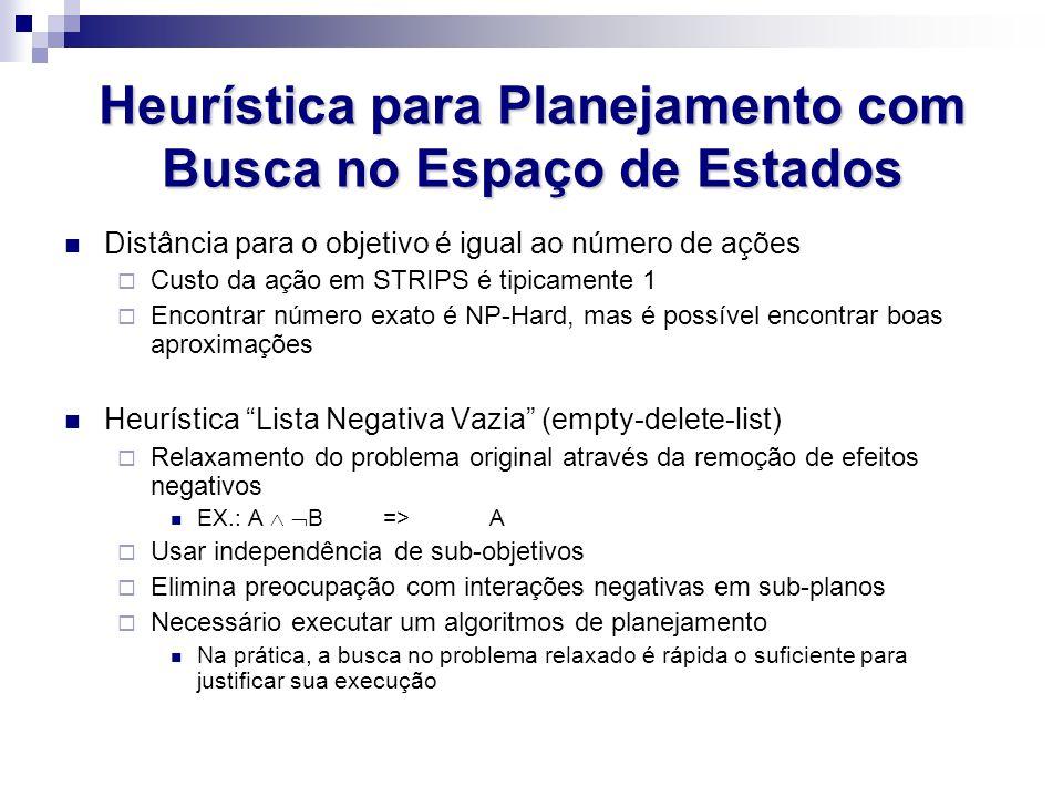 Heurística para Planejamento com Busca no Espaço de Estados Distância para o objetivo é igual ao número de ações  Custo da ação em STRIPS é tipicamen