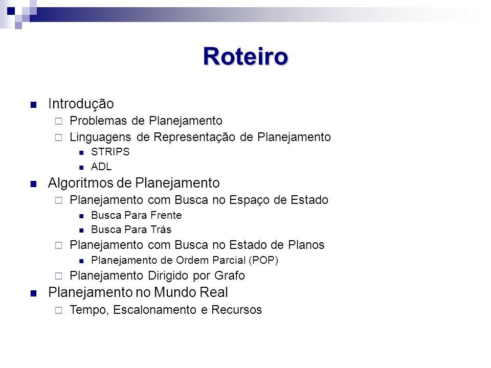 Roteiro Introdução  Problemas de Planejamento  Linguagens de Representação de Planejamento STRIPS ADL Algoritmos de Planejamento  Planejamento com