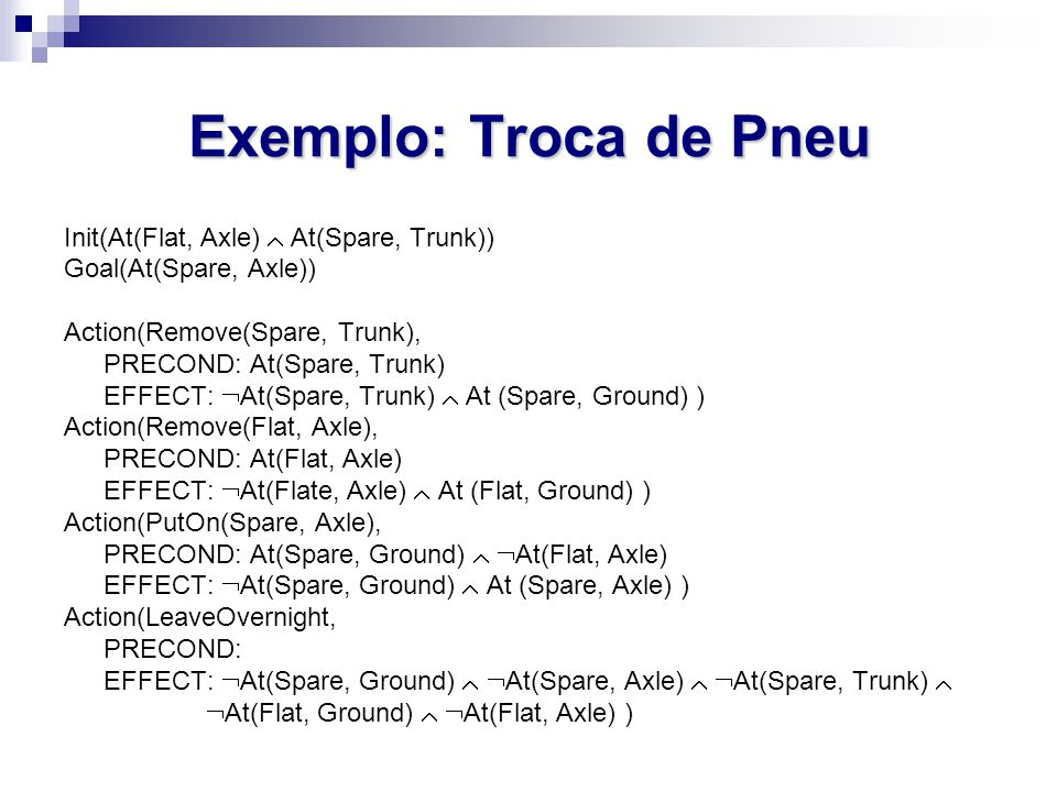 Exemplo: Troca de Pneu Init(At(Flat, Axle)  At(Spare, Trunk)) Goal(At(Spare, Axle)) Action(Remove(Spare, Trunk), PRECOND: At(Spare, Trunk) EFFECT:  At(Spare, Trunk)  At (Spare, Ground) ) Action(Remove(Flat, Axle), PRECOND: At(Flat, Axle) EFFECT:  At(Flate, Axle)  At (Flat, Ground) ) Action(PutOn(Spare, Axle), PRECOND: At(Spare, Ground)   At(Flat, Axle) EFFECT:  At(Spare, Ground)  At (Spare, Axle) ) Action(LeaveOvernight, PRECOND: EFFECT:  At(Spare, Ground)   At(Spare, Axle)   At(Spare, Trunk)   At(Flat, Ground)   At(Flat, Axle) )