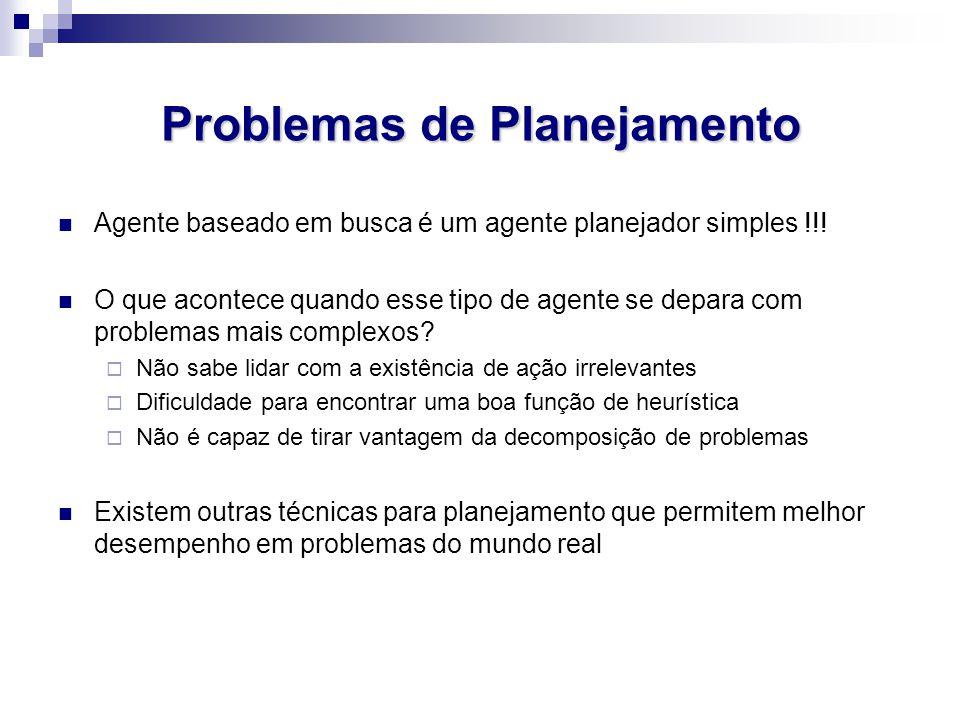 Problemas de Planejamento Agente baseado em busca é um agente planejador simples !!! O que acontece quando esse tipo de agente se depara com problemas