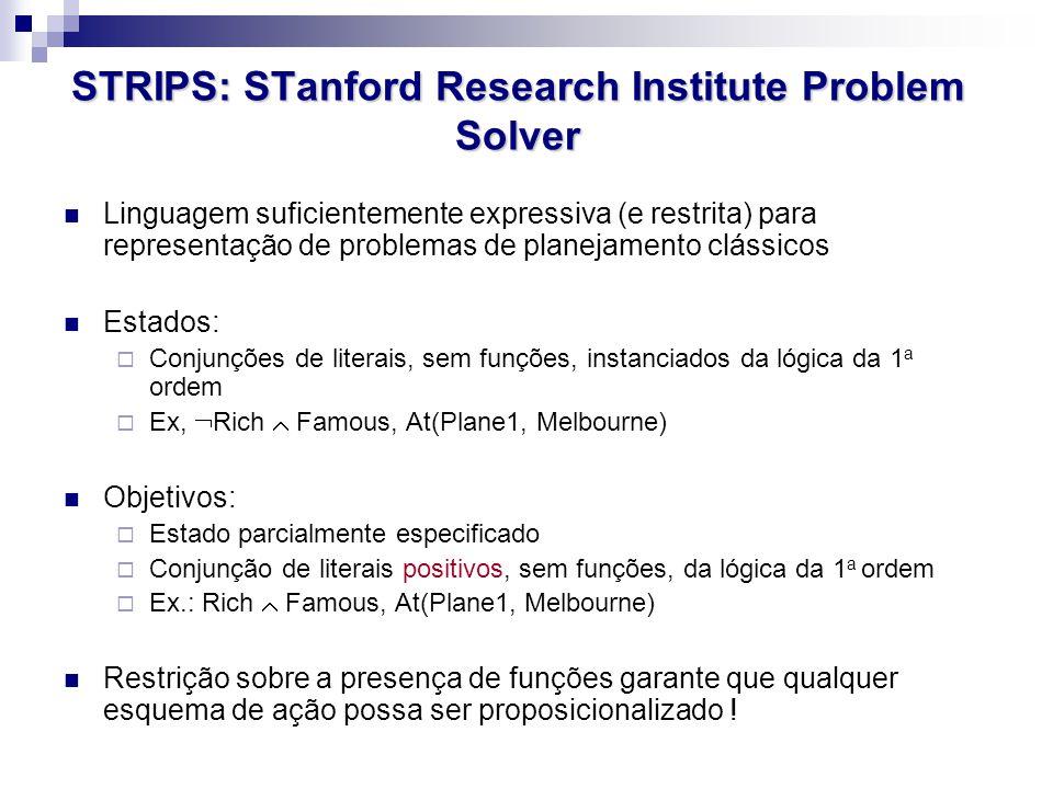 STRIPS: STanford Research Institute Problem Solver Linguagem suficientemente expressiva (e restrita) para representação de problemas de planejamento c