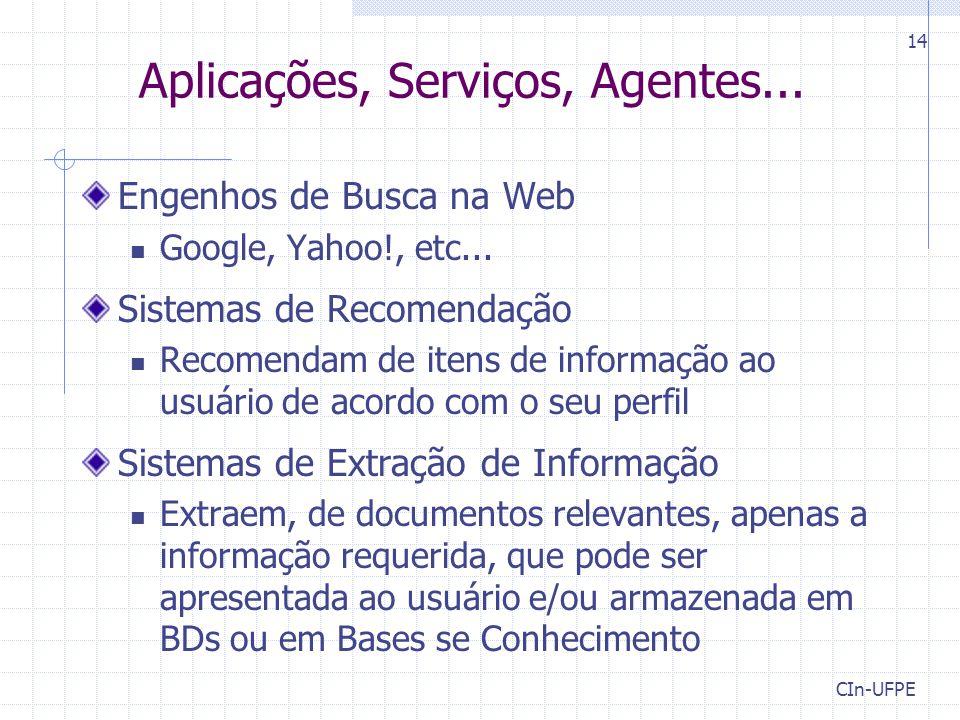 CIn-UFPE 14 Aplicações, Serviços, Agentes... Engenhos de Busca na Web Google, Yahoo!, etc... Sistemas de Recomendação Recomendam de itens de informaçã