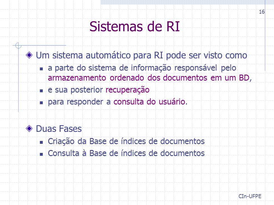 CIn-UFPE 16 Sistemas de RI Um sistema automático para RI pode ser visto como a parte do sistema de informação responsável pelo armazenamento ordenado