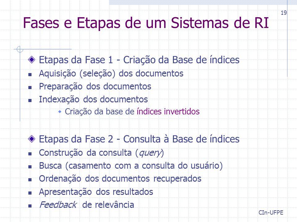 CIn-UFPE 19 Fases e Etapas de um Sistemas de RI Etapas da Fase 1 - Criação da Base de índices Aquisição (seleção) dos documentos Preparação dos docume