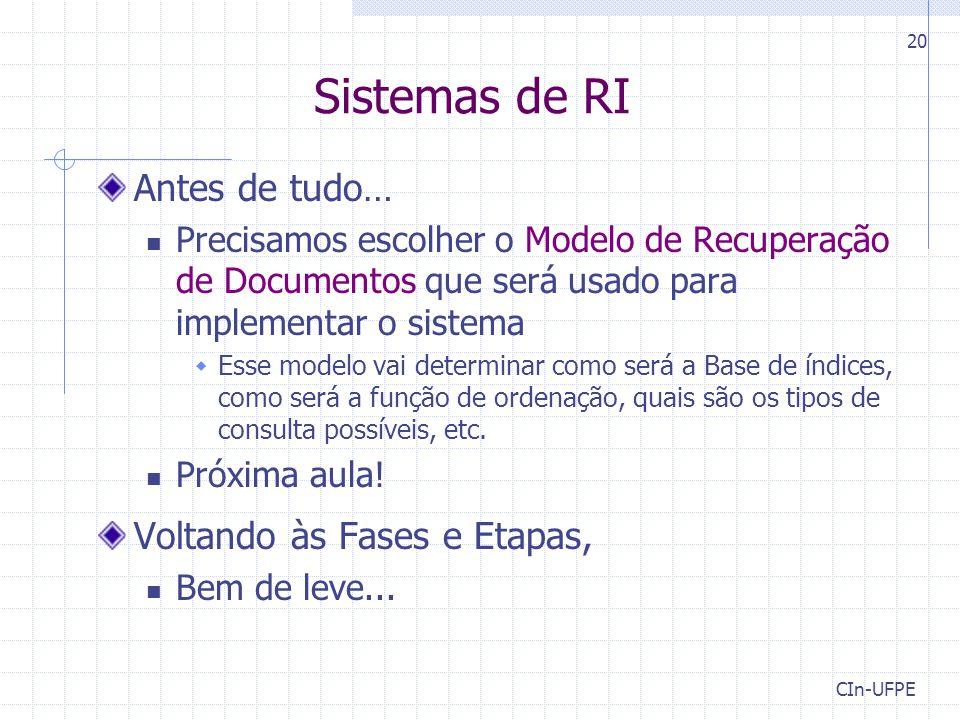 Sistemas de RI Antes de tudo… Precisamos escolher o Modelo de Recuperação de Documentos que será usado para implementar o sistema  Esse modelo vai de