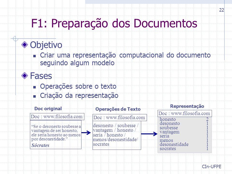 CIn-UFPE 22 F1: Preparação dos Documentos Objetivo Criar uma representação computacional do documento seguindo algum modelo Fases Operações sobre o te