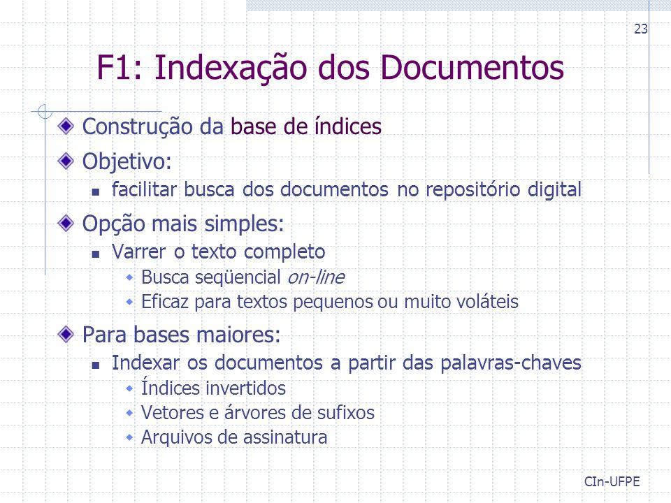 CIn-UFPE 23 F1: Indexação dos Documentos Construção da base de índices Objetivo: facilitar busca dos documentos no repositório digital Opção mais simp